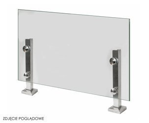 40 mm Square Miniposr,  H=255mm, glass 8-17,52mm AISI 304, SATIN