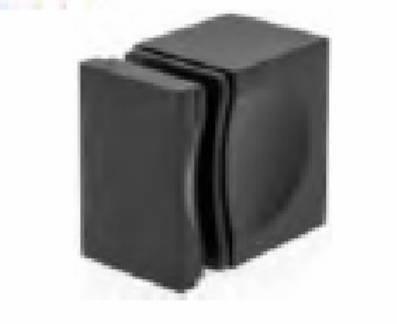 1-Side  28x46 mm Glass Door Black Knob