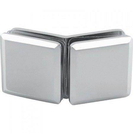 50x50  135° Glass Shower Clamp / Satin, Polished Chrome